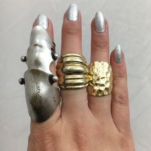 3 Stylish Trendy Costume Jewelry Rings Gold Silver